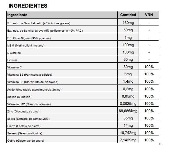 Ingredientes Vipelin Woman Mujer