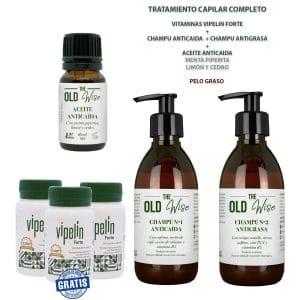 Pack pelo graso vitaminas Vipelin Forte champu anticaida y antigrasa y aceite esencial