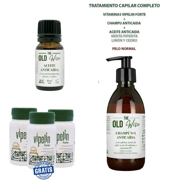 Pack pelo normal no graso vitaminas Vipelin Forte Champu anticaida the old wise y aceite esencial