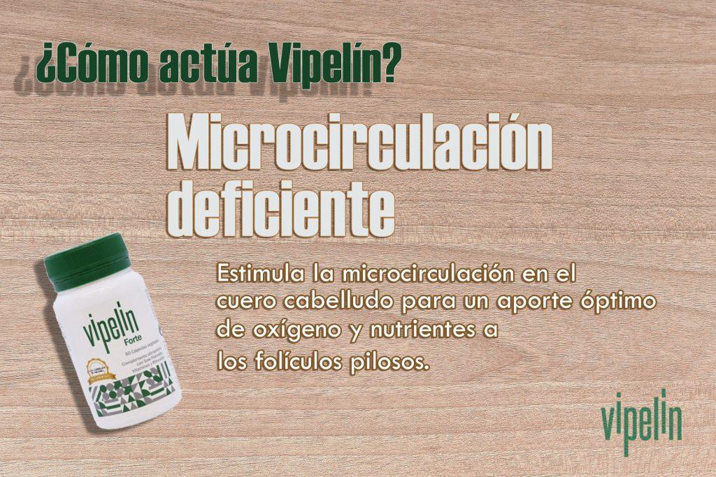 Vipelín ayuda a mejorar la microcirculación en el cuero cabelludo.